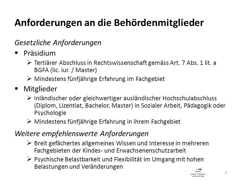Anforderungen an die Behördenmitglieder Gesetzliche Anforderungen Präsidium Tertiärer Abschluss in Rechtswissenschaft gemäss Art. 7 Abs. 1 lit. a BGFA