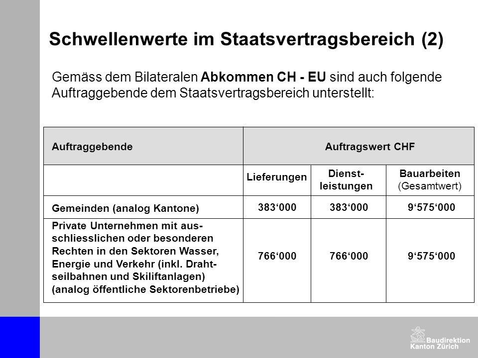 Gemäss dem Bilateralen Abkommen CH - EU sind auch folgende Auftraggebende dem Staatsvertragsbereich unterstellt: Schwellenwerte im Staatsvertragsberei