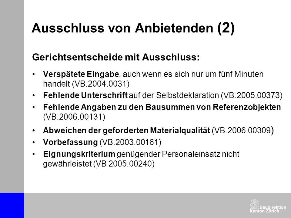 Ausschluss von Anbietenden (2) Gerichtsentscheide mit Ausschluss: Verspätete Eingabe, auch wenn es sich nur um fünf Minuten handelt (VB.2004.0031) Feh
