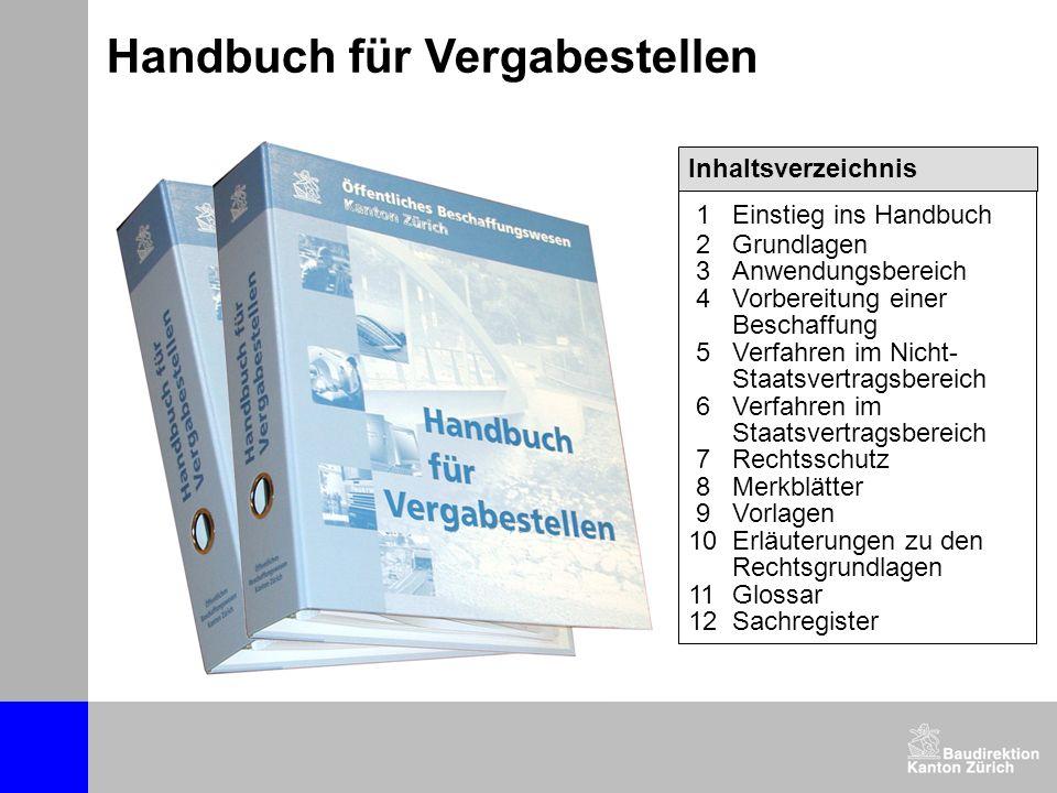 Handbuch für Vergabestellen Inhaltsverzeichnis 1Einstieg ins Handbuch 2Grundlagen 3Anwendungsbereich 4Vorbereitung einer Beschaffung 5Verfahren im Nic