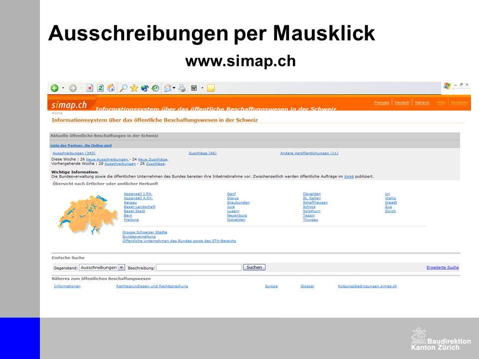 www.simap.ch Ausschreibungen per Mausklick
