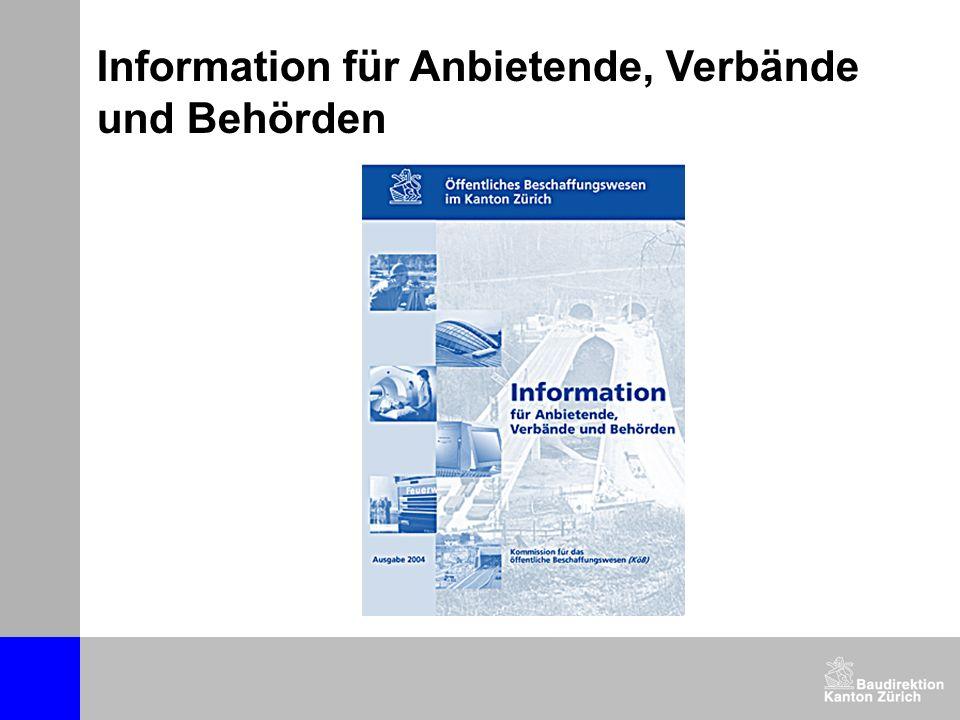 Information für Anbietende, Verbände und Behörden