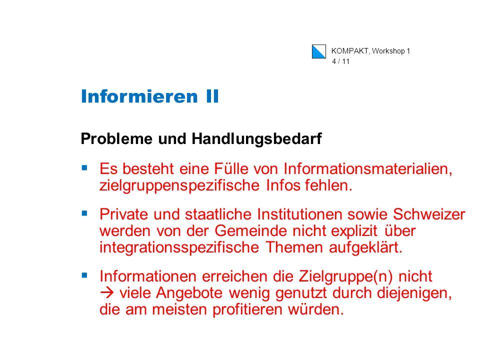 KOMPAKT, Workshop 1 4 / 11 Probleme und Handlungsbedarf Es besteht eine Fülle von Informationsmaterialien, zielgruppenspezifische Infos fehlen.