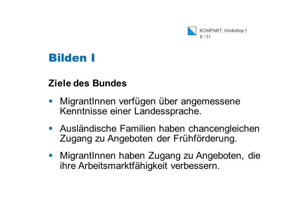 KOMPAKT, Workshop 1 6 / 11 Ziele des Bundes MigrantInnen verfügen über angemessene Kenntnisse einer Landessprache.