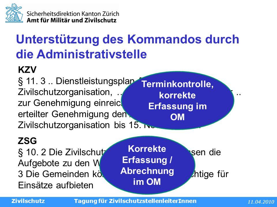 11.04.2010 Tagung für ZivilschutzstellenleiterInnen Unterstützung des Kommandos durch die Administrativstelle Zivilschutz ZSG § 10.