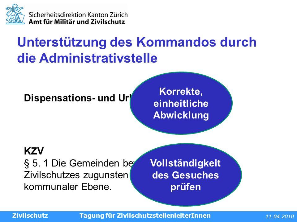 11.04.2010 Tagung für ZivilschutzstellenleiterInnen KZV § 5.