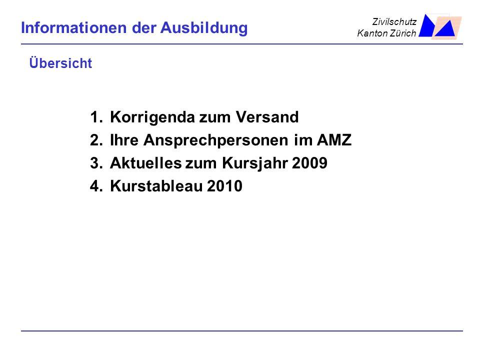 Zivilschutz Kanton Zürich Informationen der Ausbildung Übersicht 1.Korrigenda zum Versand 2.Ihre Ansprechpersonen im AMZ 3.Aktuelles zum Kursjahr 2009