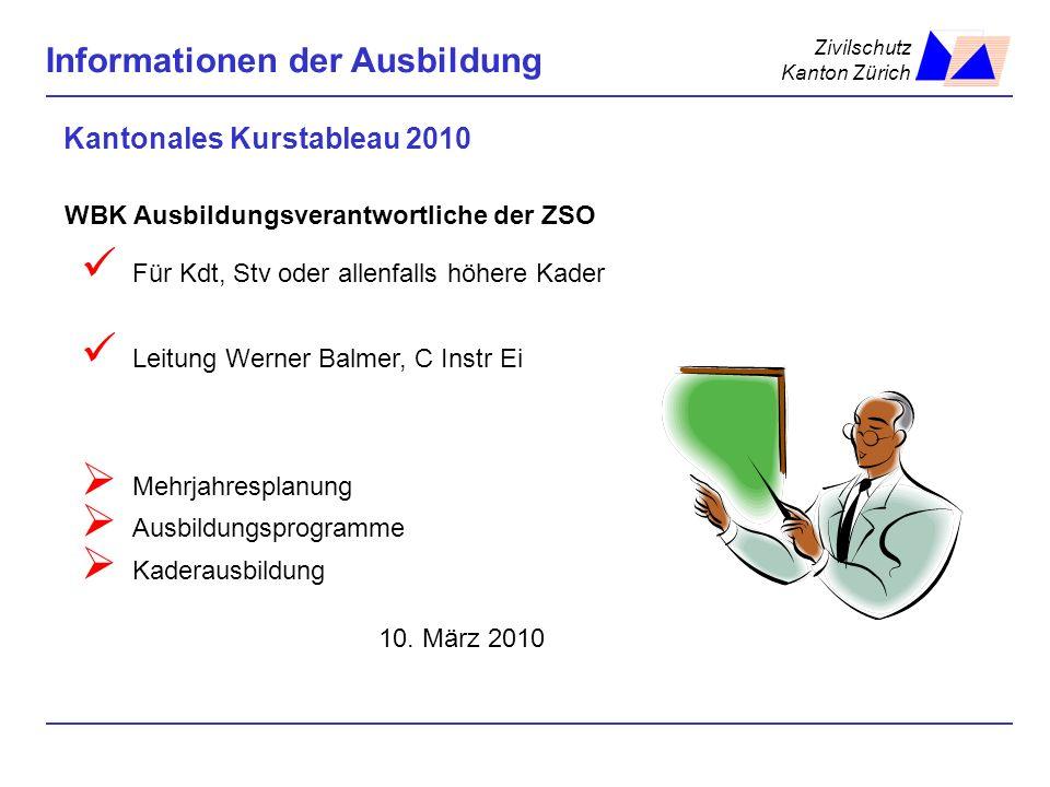 Zivilschutz Kanton Zürich Informationen der Ausbildung Kantonales Kurstableau 2010 Für Kdt, Stv oder allenfalls höhere Kader Leitung Werner Balmer, C
