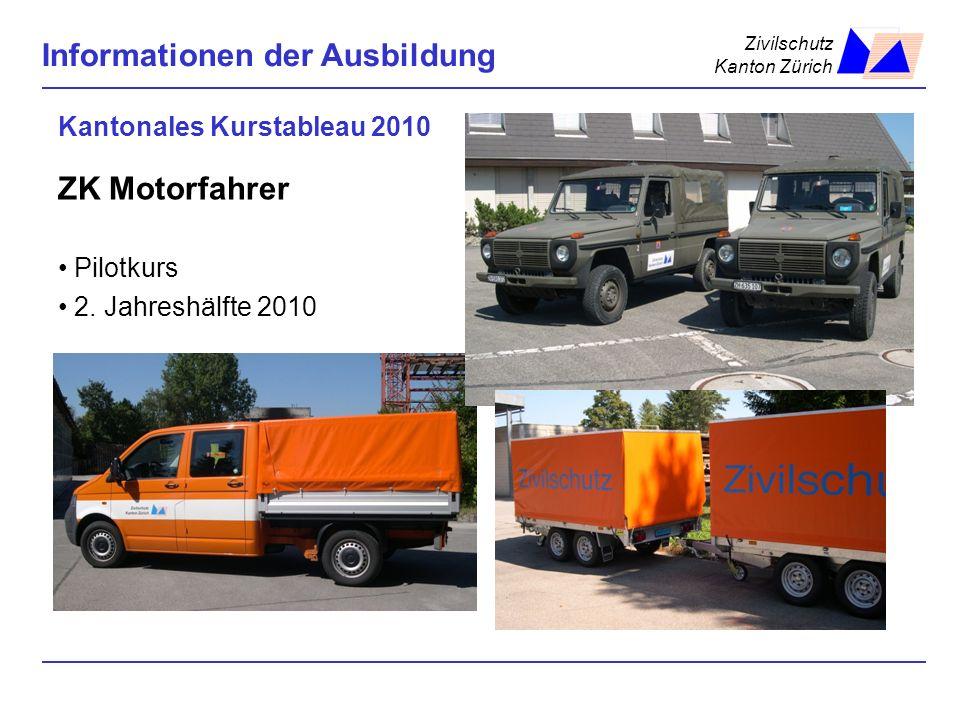 Zivilschutz Kanton Zürich Informationen der Ausbildung Kantonales Kurstableau 2010 ZK Motorfahrer Pilotkurs 2. Jahreshälfte 2010