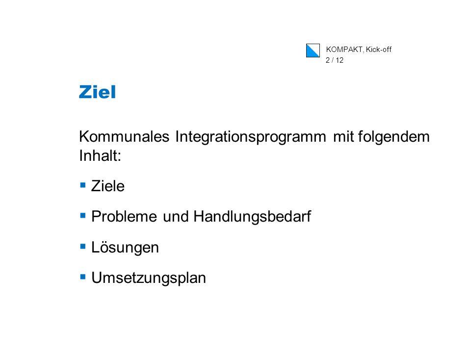 KOMPAKT, Kick-off 2 / 12 Ziel Kommunales Integrationsprogramm mit folgendem Inhalt: Ziele Probleme und Handlungsbedarf Lösungen Umsetzungsplan