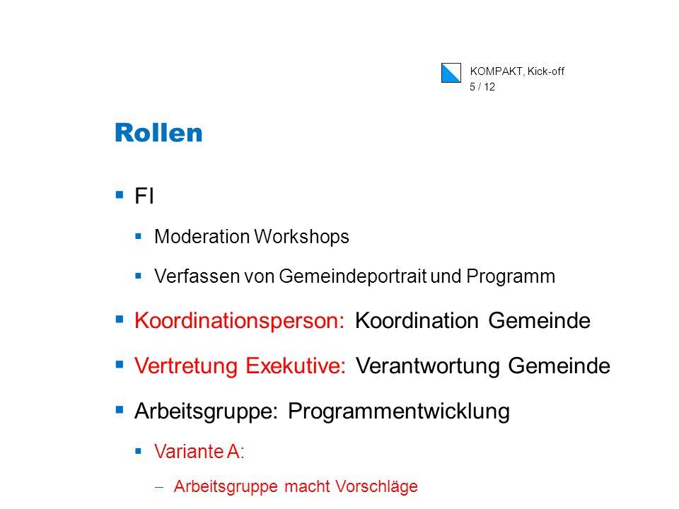 KOMPAKT, Kick-off 5 / 12 Rollen FI Moderation Workshops Verfassen von Gemeindeportrait und Programm Koordinationsperson: Koordination Gemeinde Vertret