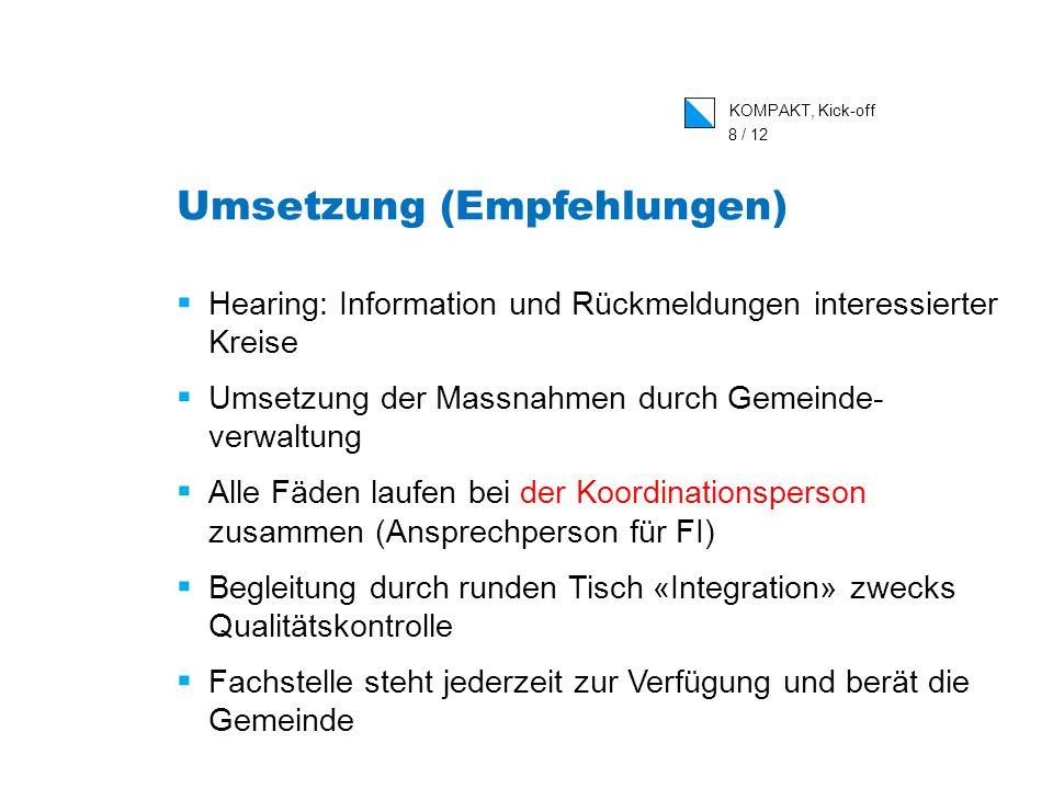 KOMPAKT, Kick-off 8 / 12 Umsetzung (Empfehlungen) Hearing: Information und Rückmeldungen interessierter Kreise Umsetzung der Massnahmen durch Gemeinde