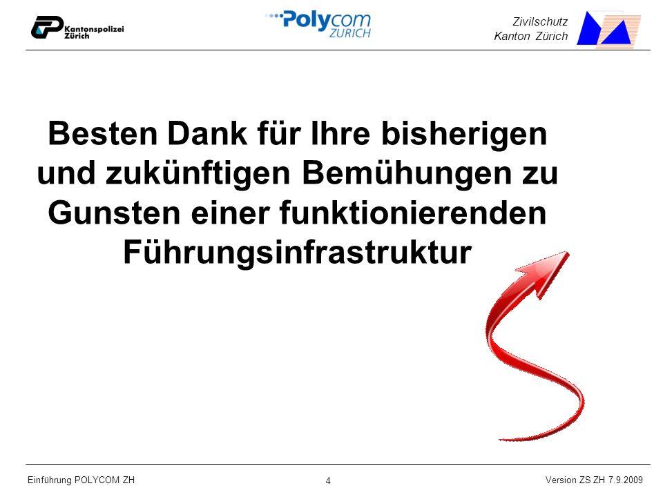 Version ZS ZH 7.9.2009 Einführung POLYCOM ZH 4 Zivilschutz Kanton Zürich Besten Dank für Ihre bisherigen und zukünftigen Bemühungen zu Gunsten einer funktionierenden Führungsinfrastruktur