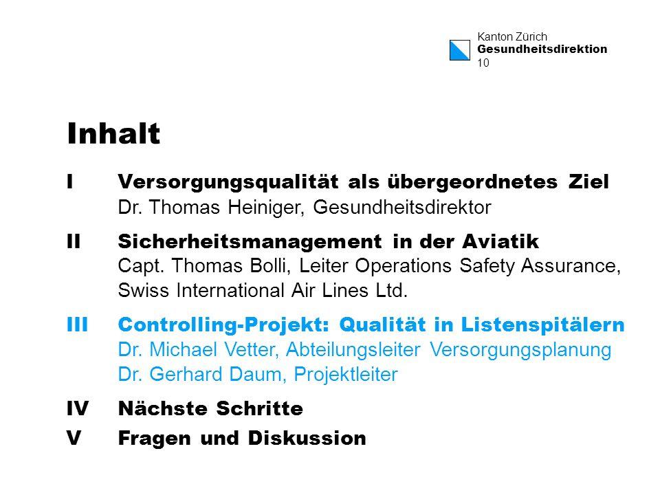 Kanton Zürich Gesundheitsdirektion 10 Inhalt IVersorgungsqualität als übergeordnetes Ziel Dr. Thomas Heiniger, Gesundheitsdirektor IISicherheitsmanage