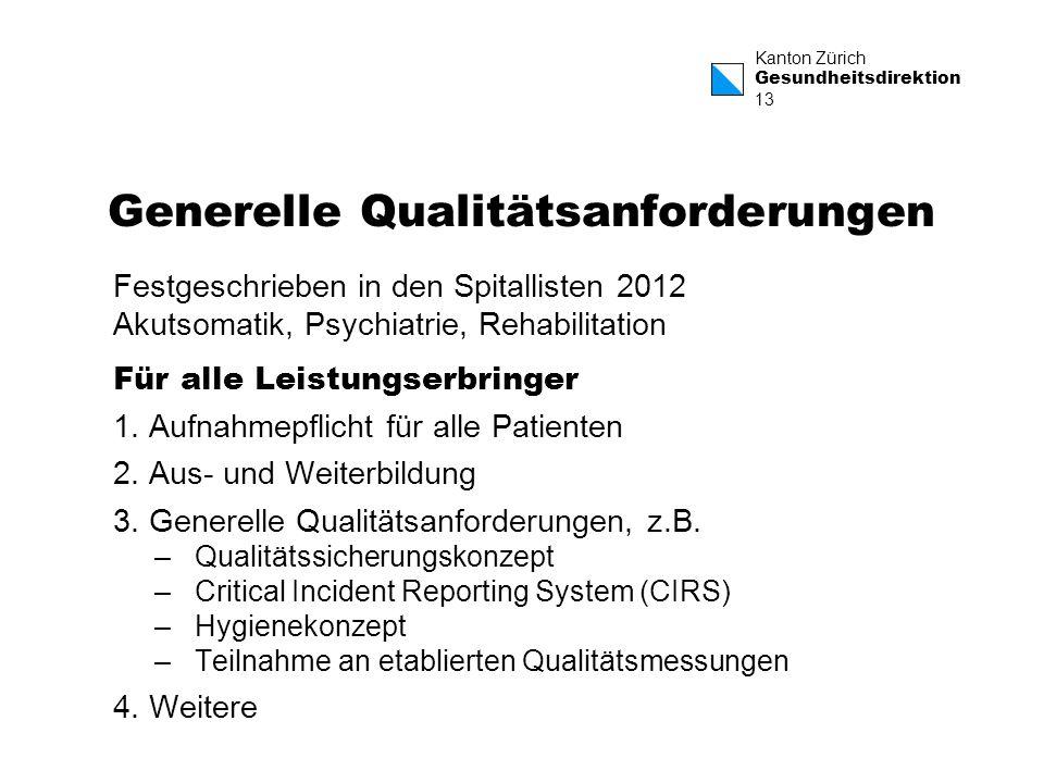 Kanton Zürich Gesundheitsdirektion 13 Generelle Qualitätsanforderungen Festgeschrieben in den Spitallisten 2012 Akutsomatik, Psychiatrie, Rehabilitati