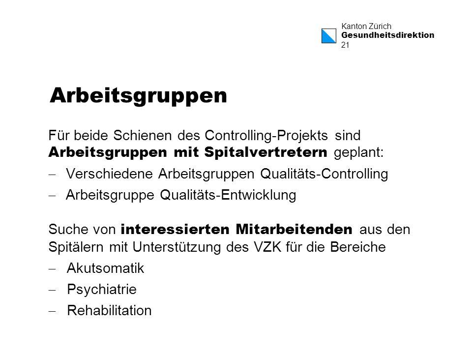 Kanton Zürich Gesundheitsdirektion 21 Arbeitsgruppen Für beide Schienen des Controlling-Projekts sind Arbeitsgruppen mit Spitalvertretern geplant: Ver