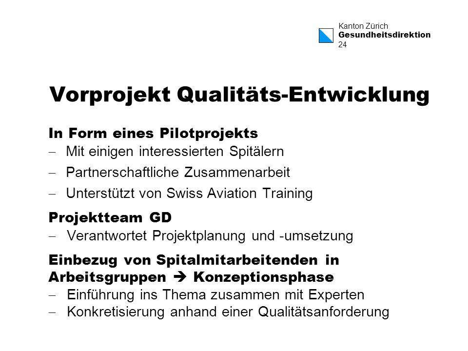 Kanton Zürich Gesundheitsdirektion 24 Vorprojekt Qualitäts-Entwicklung In Form eines Pilotprojekts Mit einigen interessierten Spitälern Partnerschaftl