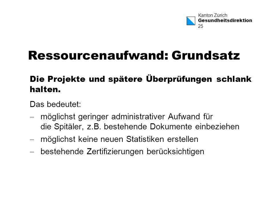 Kanton Zürich Gesundheitsdirektion 25 Ressourcenaufwand: Grundsatz Die Projekte und spätere Überprüfungen schlank halten. Das bedeutet: möglichst geri