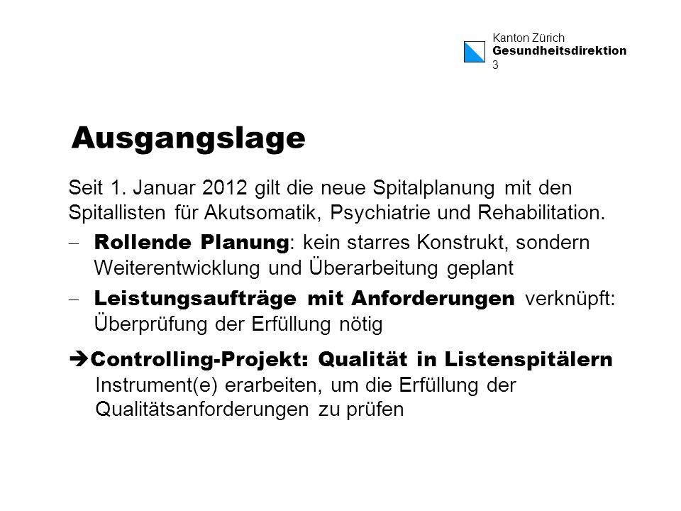 Kanton Zürich Gesundheitsdirektion 3 Ausgangslage Seit 1. Januar 2012 gilt die neue Spitalplanung mit den Spitallisten für Akutsomatik, Psychiatrie un