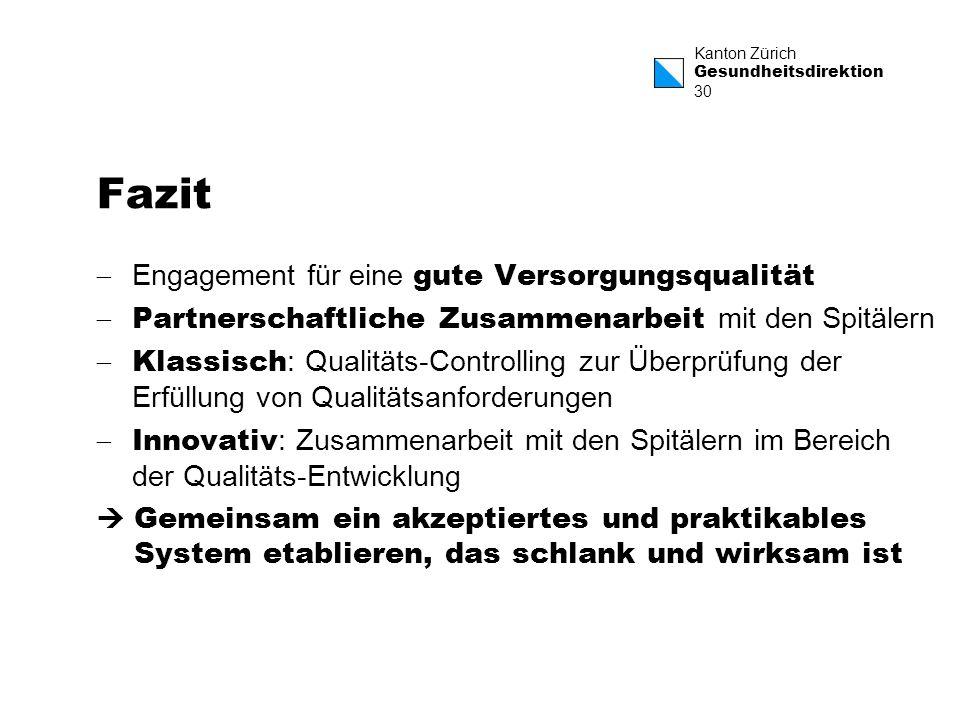 Kanton Zürich Gesundheitsdirektion 30 Fazit Engagement für eine gute Versorgungsqualität Partnerschaftliche Zusammenarbeit mit den Spitälern Klassisch
