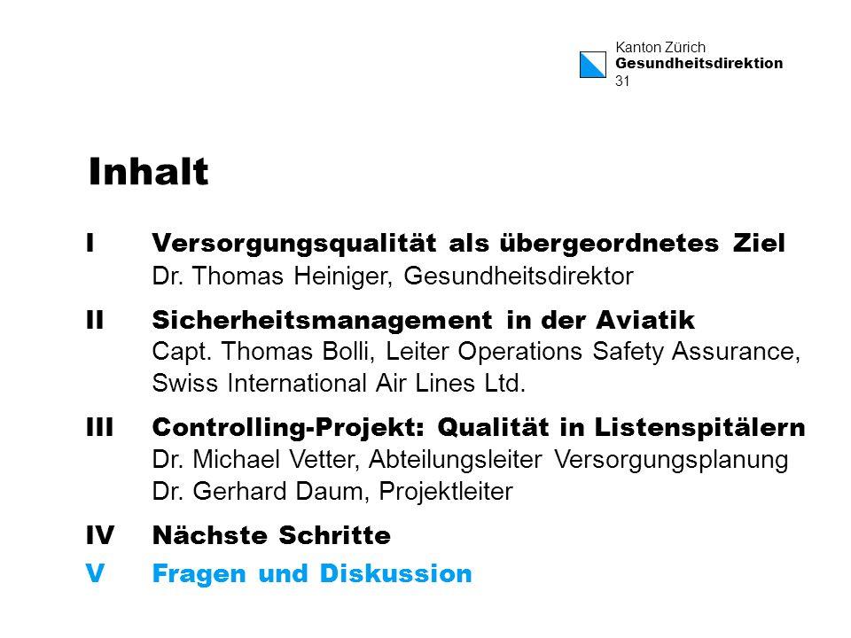 Kanton Zürich Gesundheitsdirektion 31 Inhalt IVersorgungsqualität als übergeordnetes Ziel Dr. Thomas Heiniger, Gesundheitsdirektor IISicherheitsmanage