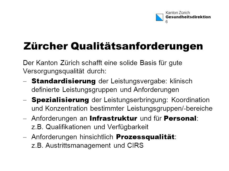 Kanton Zürich Gesundheitsdirektion 6 Zürcher Qualitätsanforderungen Der Kanton Zürich schafft eine solide Basis für gute Versorgungsqualität durch: St
