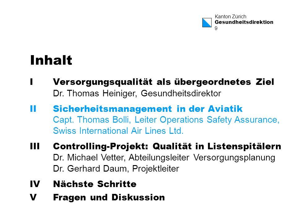 Kanton Zürich Gesundheitsdirektion 9 Inhalt IVersorgungsqualität als übergeordnetes Ziel Dr. Thomas Heiniger, Gesundheitsdirektor IISicherheitsmanagem