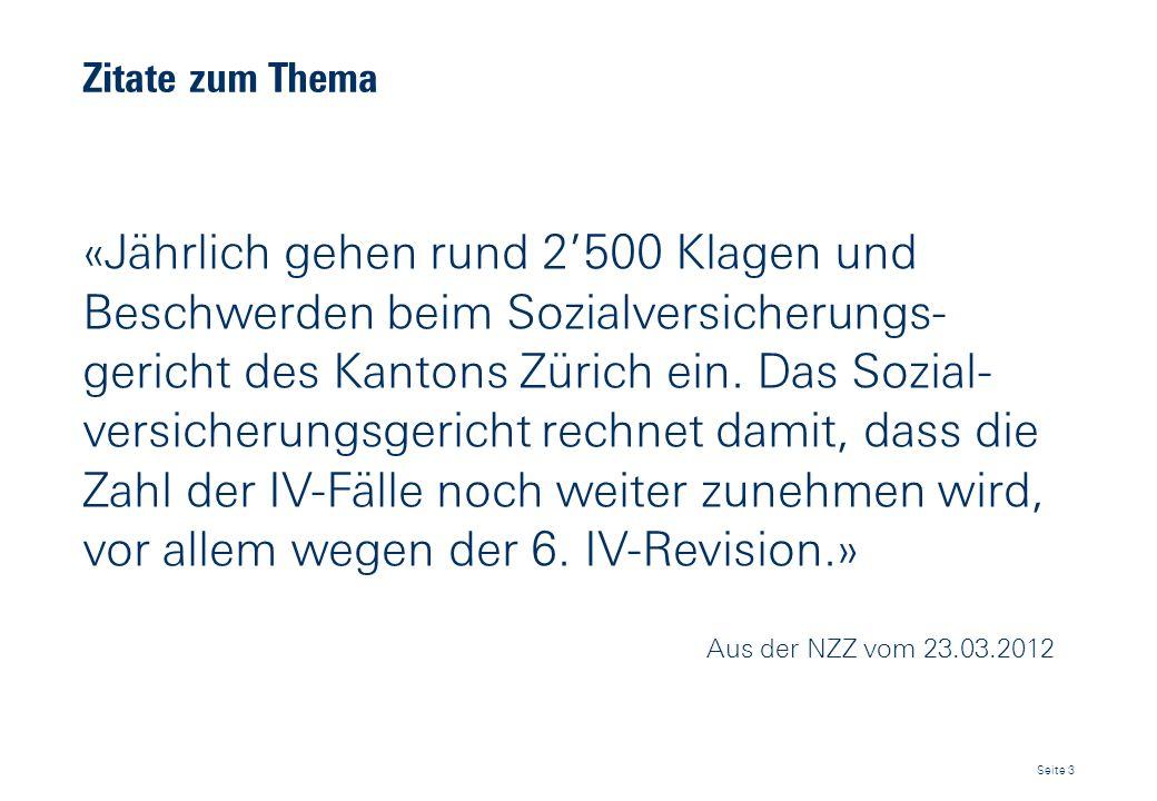 Zitate zum Thema «Jährlich gehen rund 2500 Klagen und Beschwerden beim Sozialversicherungs- gericht des Kantons Zürich ein. Das Sozial- versicherungsg