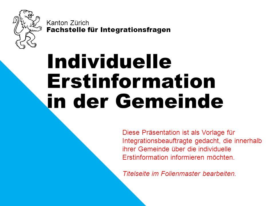 Kanton Zürich Fachstelle für Integrationsfragen Individuelle Erstinformation in der Gemeinde Diese Präsentation ist als Vorlage für Integrationsbeauft