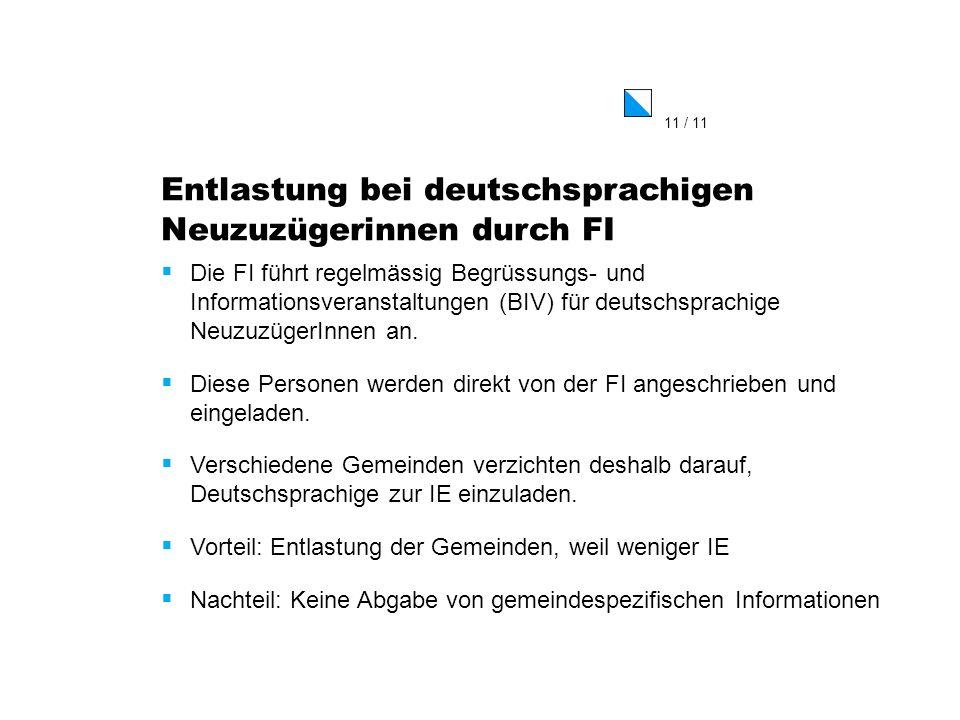 11 / 11 Entlastung bei deutschsprachigen Neuzuzügerinnen durch FI Die FI führt regelmässig Begrüssungs- und Informationsveranstaltungen (BIV) für deut