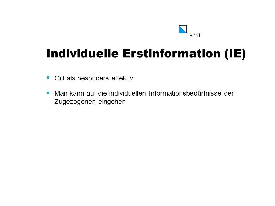 4 / 11 Individuelle Erstinformation (IE) Gilt als besonders effektiv Man kann auf die individuellen Informationsbedürfnisse der Zugezogenen eingehen