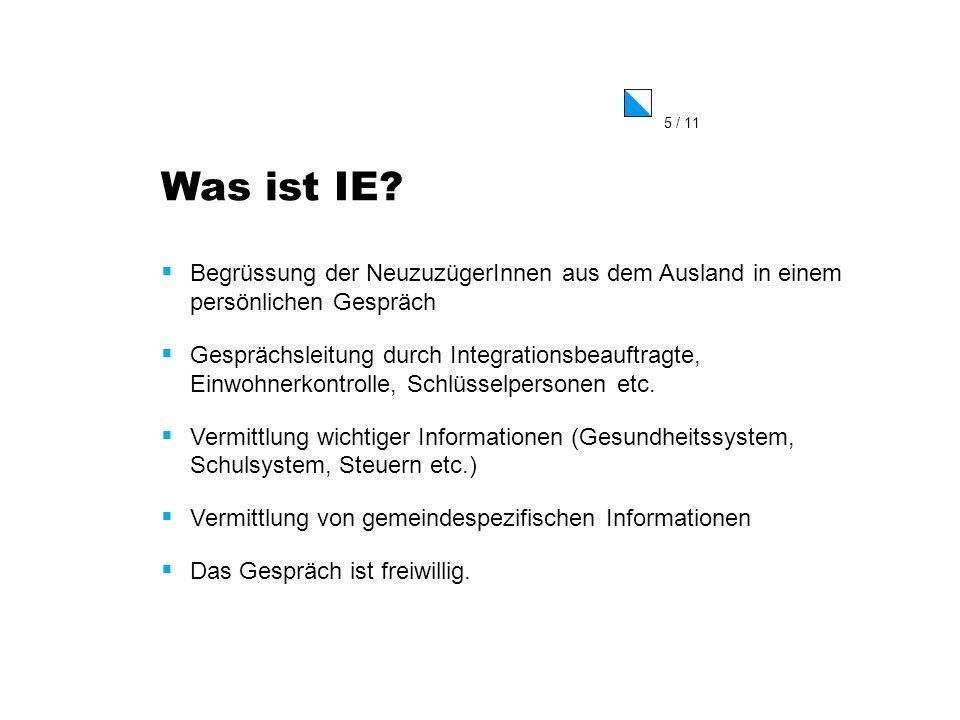 6 / 11 Nutzen der IE Je früher man informiert ist, umso schneller beginnt der Integrationsprozess in der Gemeinde.