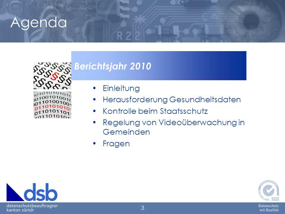 3 Agenda Einleitung Herausforderung Gesundheitsdaten Kontrolle beim Staatsschutz Regelung von Videoüberwachung in Gemeinden Fragen Berichtsjahr 2010