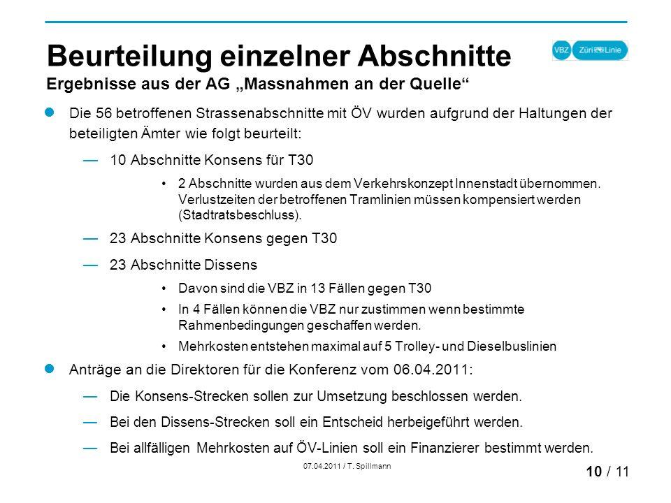 Beurteilung einzelner Abschnitte Ergebnisse aus der AG Massnahmen an der Quelle Die 56 betroffenen Strassenabschnitte mit ÖV wurden aufgrund der Haltungen der beteiligten Ämter wie folgt beurteilt: 10 Abschnitte Konsens für T30 2 Abschnitte wurden aus dem Verkehrskonzept Innenstadt übernommen.
