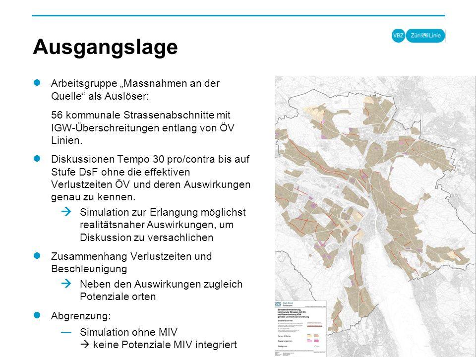 Ausgangslage Arbeitsgruppe Massnahmen an der Quelle als Auslöser: 56 kommunale Strassenabschnitte mit IGW-Überschreitungen entlang von ÖV Linien.