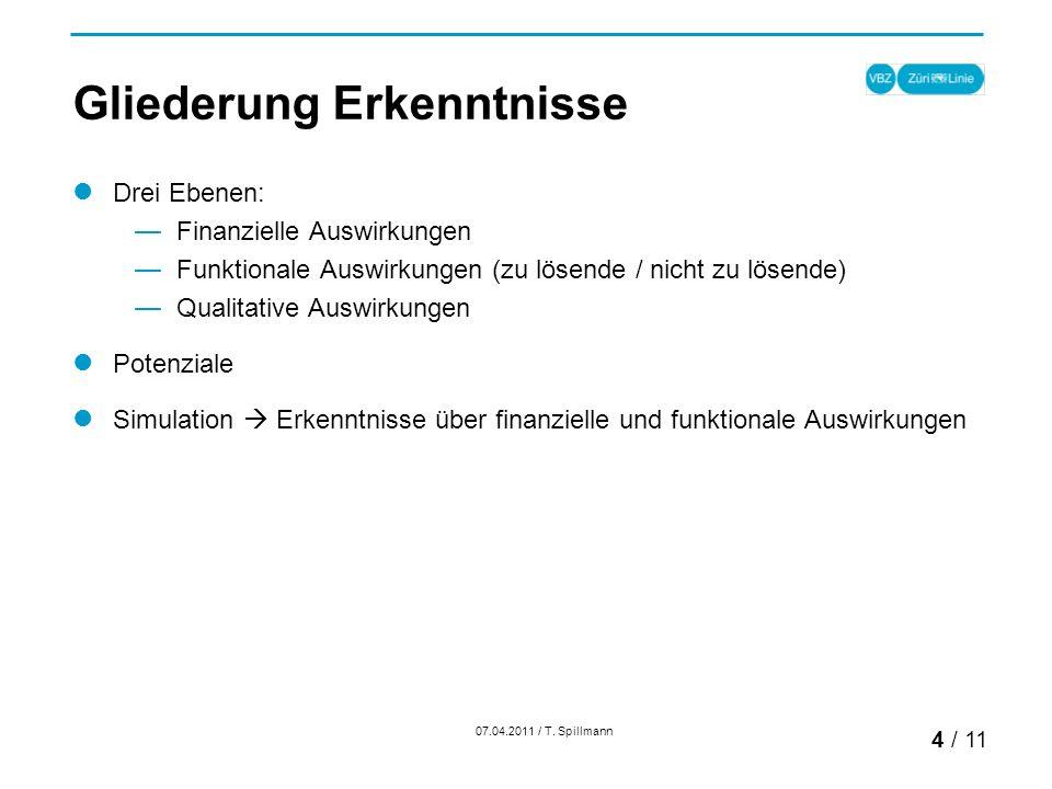 Gliederung Erkenntnisse Drei Ebenen: Finanzielle Auswirkungen Funktionale Auswirkungen (zu lösende / nicht zu lösende) Qualitative Auswirkungen Potenziale Simulation Erkenntnisse über finanzielle und funktionale Auswirkungen 07.04.2011 / T.