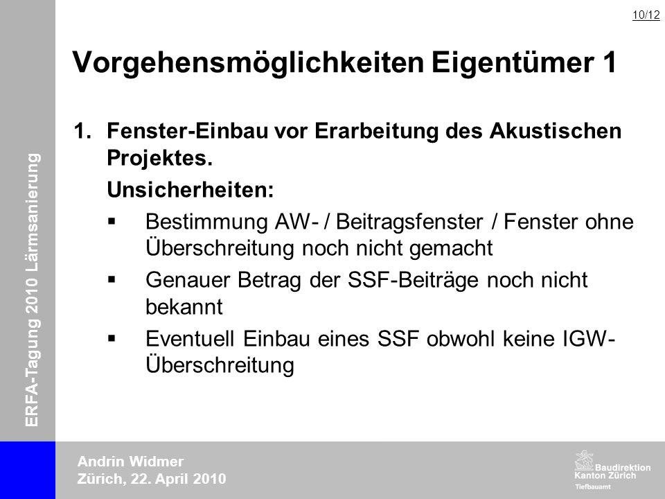 ERFA-Tagung 2010 Lärmsanierung Andrin Widmer Zürich, 22. April 2010 Vorgehensmöglichkeiten Eigentümer 1 1.Fenster-Einbau vor Erarbeitung des Akustisch
