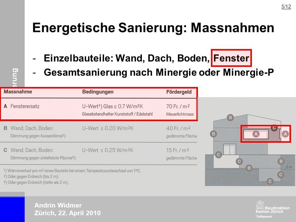 ERFA-Tagung 2010 Lärmsanierung Andrin Widmer Zürich, 22. April 2010 Energetische Sanierung: Massnahmen -Einzelbauteile: Wand, Dach, Boden, Fenster -Ge