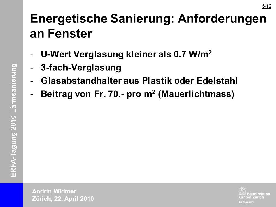 ERFA-Tagung 2010 Lärmsanierung Andrin Widmer Zürich, 22. April 2010 Energetische Sanierung: Anforderungen an Fenster -U-Wert Verglasung kleiner als 0.