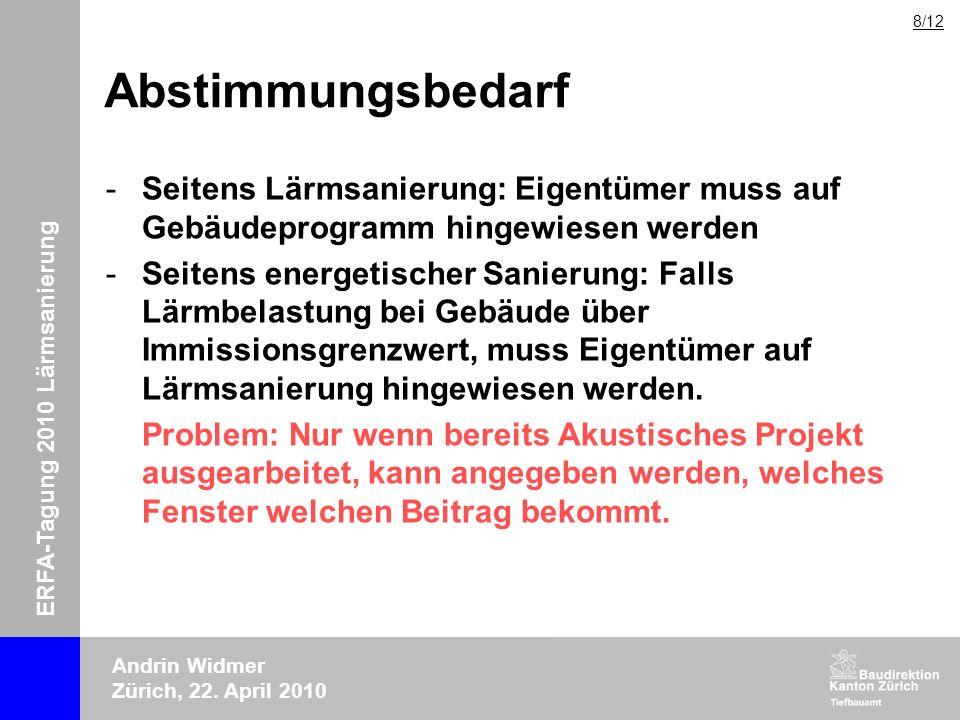 ERFA-Tagung 2010 Lärmsanierung Andrin Widmer Zürich, 22. April 2010 Abstimmungsbedarf -Seitens Lärmsanierung: Eigentümer muss auf Gebäudeprogramm hing