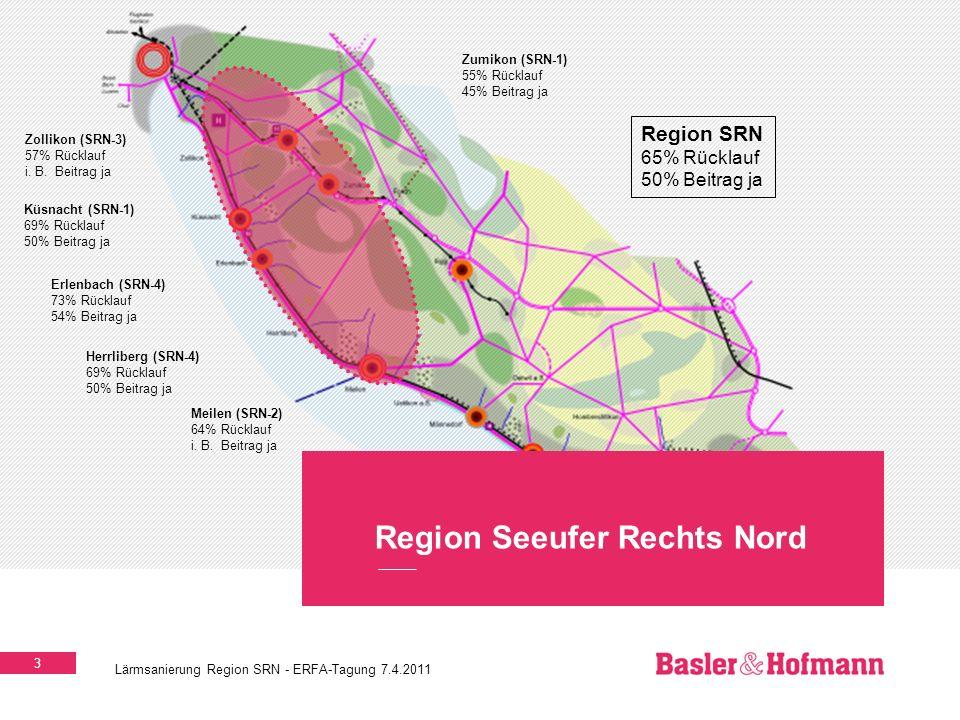 3 Lärmsanierung Region SRN - ERFA-Tagung 7.4.2011 Region Seeufer Rechts Nord Erlenbach (SRN-4) 73% Rücklauf 54% Beitrag ja Küsnacht (SRN-1) 69% Rückla