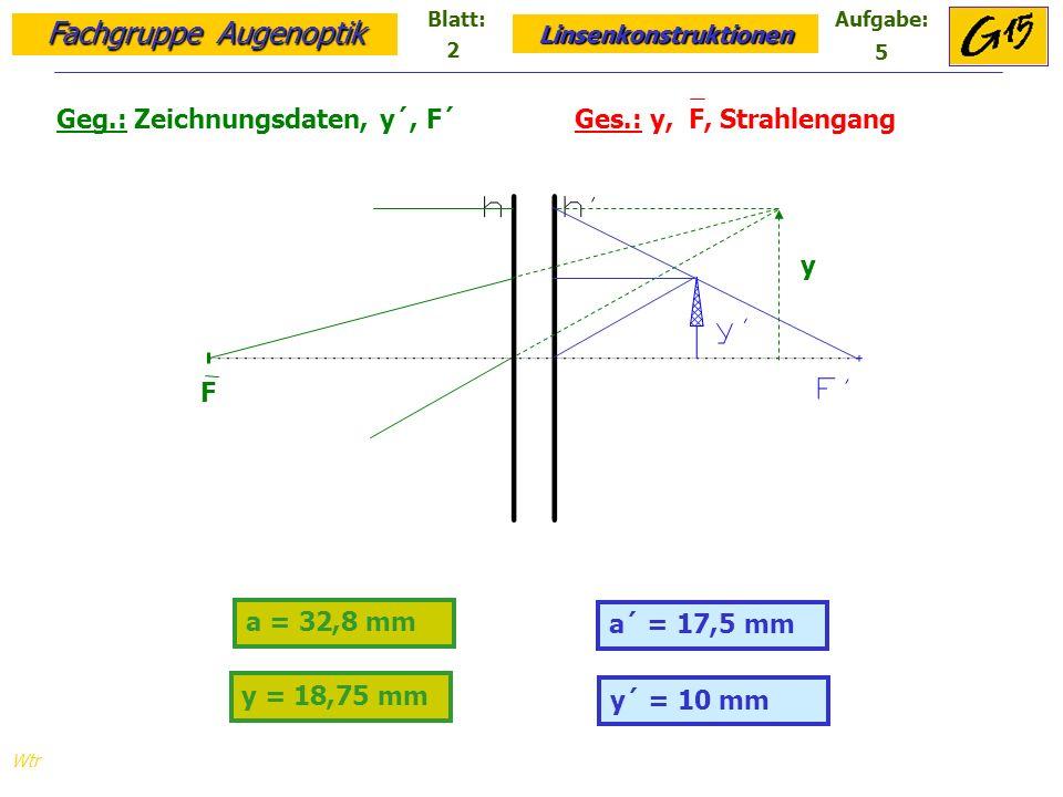 Fachgruppe Augenoptik Linsenkonstruktionen Blatt:Aufgabe: Wtr a = 32,8 mm y´ = 10 mm Geg.: Zeichnungsdaten, y´, F´ Ges.: y, F, Strahlengang a´ = 17,5 mm y = 18,75 mm F y 2 5