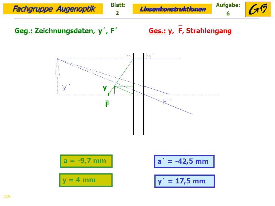 Fachgruppe Augenoptik Linsenkonstruktionen Blatt:Aufgabe: Wtr a = -9,7 mm y´ = 17,5 mm Geg.: Zeichnungsdaten, y´, F´ Ges.: y, F, Strahlengang a´ = -42,5 mm y = 4 mm F y 2 6