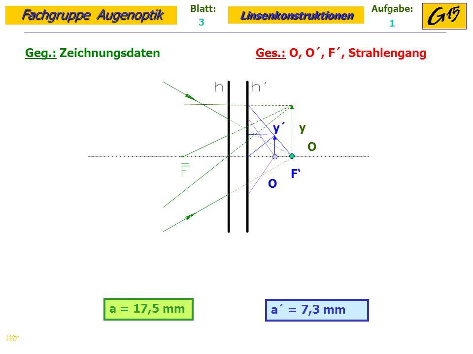 Fachgruppe Augenoptik Linsenkonstruktionen Blatt:Aufgabe: Wtr a = 17,5 mm Geg.: Zeichnungsdaten Ges.: O, O´, F´, Strahlengang a´ = 7,3 mm 3 1 O y y´ F O