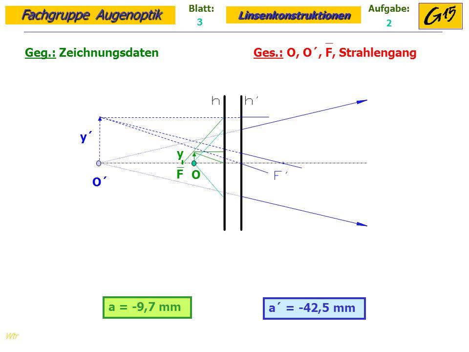 Fachgruppe Augenoptik Linsenkonstruktionen Blatt:Aufgabe: Wtr a = -9,7 mm Geg.: Zeichnungsdaten Ges.: O, O´, F, Strahlengang a´ = -42,5 mm 3 2 O´ y´ O y F