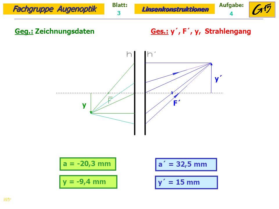 Fachgruppe Augenoptik Linsenkonstruktionen Blatt:Aufgabe: Wtr a = -20,3 mm Geg.: Zeichnungsdaten Ges.: y´, F´, y, Strahlengang a´ = 32,5 mm 3 4 y = -9,4 mm y´ = 15 mm y´ y F´