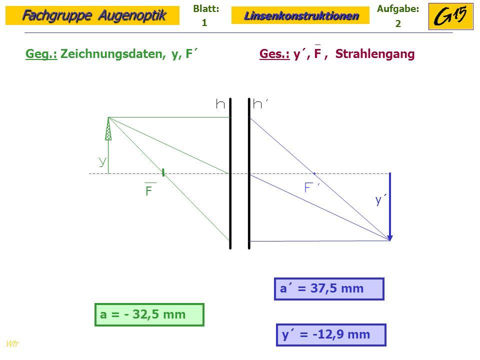 Fachgruppe Augenoptik Linsenkonstruktionen Blatt:Aufgabe: Wtr a = - 32,5 mm a´ = 27,9 mm Geg.: Zeichnungsdaten, y, f =-1,5 cm Ges.: y´, F´, F, Strahlengang F F´ y´ y´ = -17,3 mm 1 3