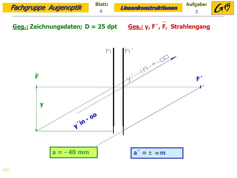 Fachgruppe Augenoptik Linsenkonstruktionen Blatt:Aufgabe: Wtr a = - 40 mm Geg.: Zeichnungsdaten; D = 25 dpt Ges.: y, F´, F, Strahlengang a´ = m 4 3 F F´ y y´in - oo