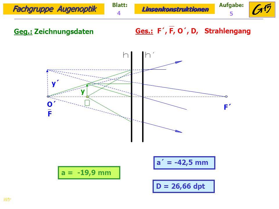 Fachgruppe Augenoptik Linsenkonstruktionen Blatt:Aufgabe: Wtr a = -19,9 mm Geg.: Zeichnungsdaten Ges.: F´, F, O´, D, Strahlengang a´ = -42,5 mm 4 5 D = 26,66 dpt y´ y O´ F F´