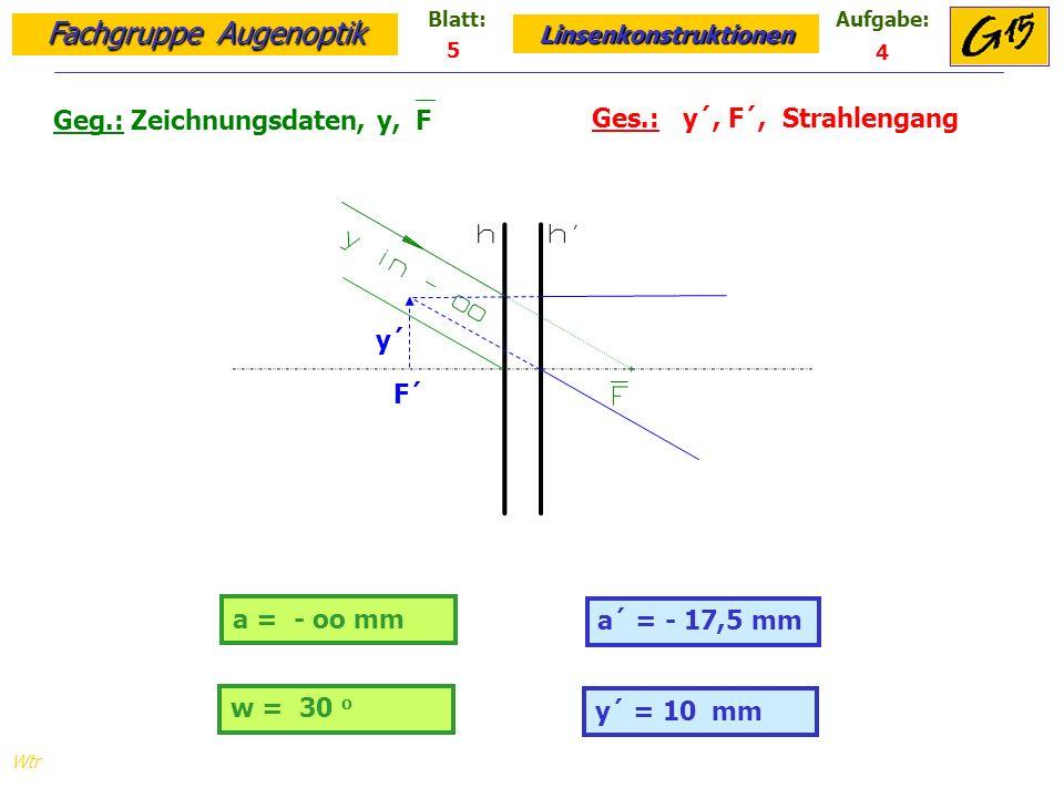 Fachgruppe Augenoptik Linsenkonstruktionen Blatt:Aufgabe: Wtr a = - oo mm Geg.: Zeichnungsdaten, y, F Ges.: y´, F´, Strahlengang a´ = - 17,5 mm 5 4 y´ = 10 mm w = 30 o y´ F´